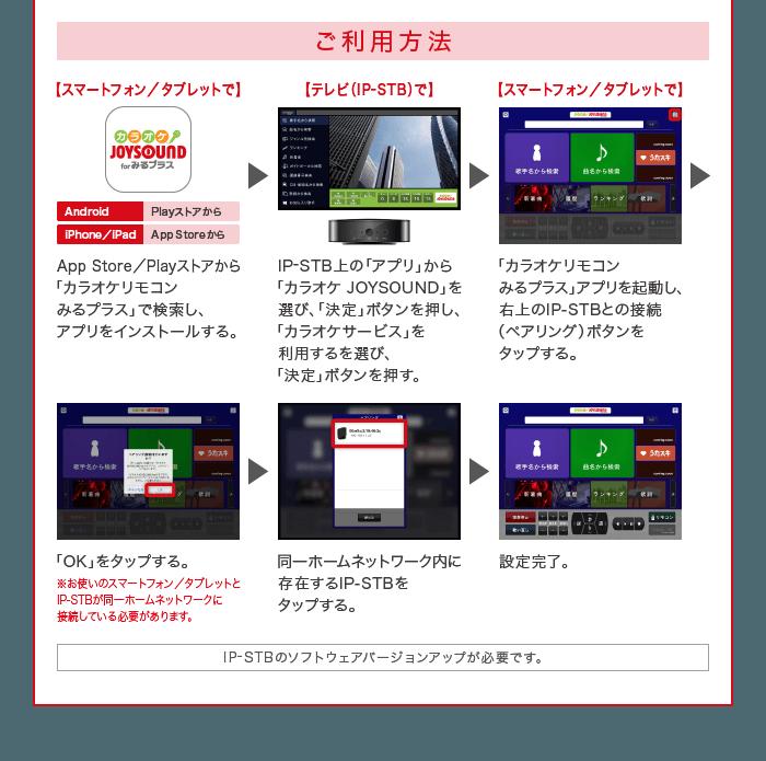 ご利用方法 App Store/Playストアから「カラオケリモコンみるプラス」で検索し、アプリをインストールする。> IP-STB上の「アプリ」から「カラオケ JOYSOUND」を選び、「決定」ボタンを押し、「カラオケサービス」を利用するを選び、「決定」ボタンを押す。> 「カラオケリモコンみるプラス」アプリを起動し、右上のIP-STBとの接続(ペアリング)ボタンをタップする。> 「OK」をタップする。> 同一ホームネットワーク内に存在するIP-STBをタップする。> 設定完了。 IP-STBのソフトウェアバージョンアップが必要です。